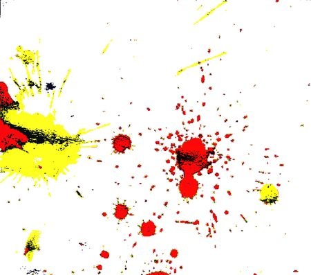 dot yellow red black color watercolor Paint splashes on white paper background abstract