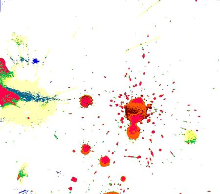 dot red yellow green red gray color watercolor Paint splashes on white paper background abstract
