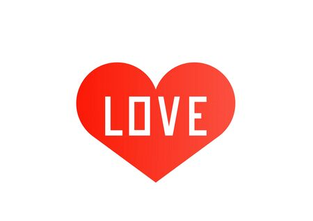 Draw text love in red heart on a white background, Valentine's Day