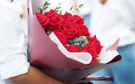 Red rose bouquet beautiful gift symbol love Valentine Day