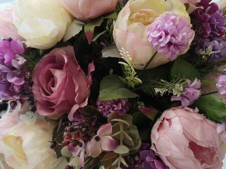 violet many violet flower, rose, carnation beautiful bouquet artificial Handmade