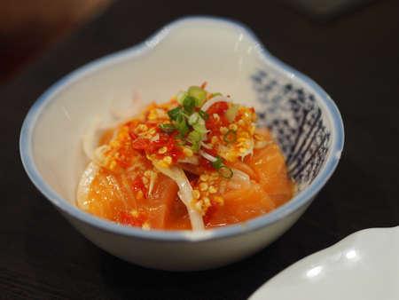 Smoked salmon zap salad in white bowl