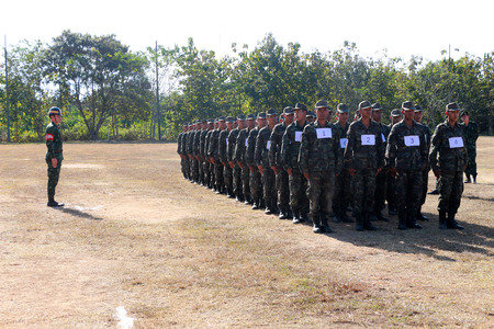 si: January 6, 2016: Thailand: Military training, auditing, new troops. Camp Si Song Rak, Loei, Thailand Editorial