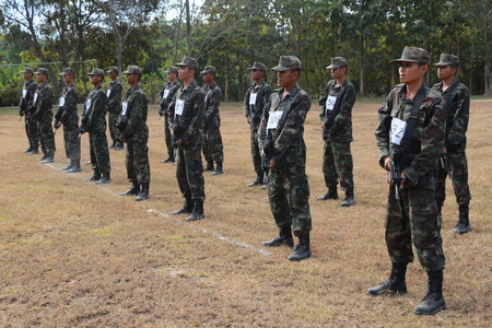 loei: January 6, 2016 Thailand Military training,use of military weapons ,auditing, new troops. Camp Si Song Rak, Loei,Thailand.