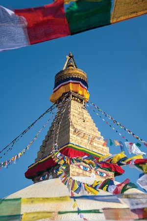 stupa one: Boudhanath stupa surrounding with prayer flags, Kathmandu, Nepal
