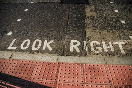 look at right: Look Right Sign in the Street of London Stock Photo