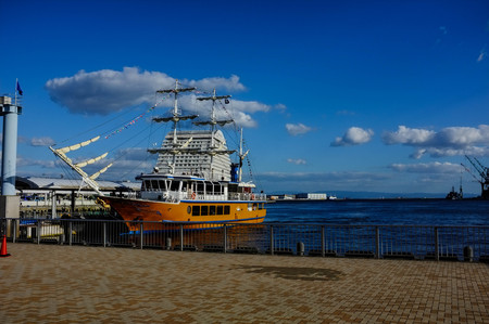 resturant: classic-style resturant cruise in kobe port, kobe city, japan with clear blue sky