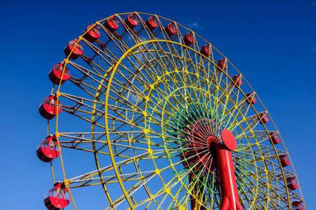 habour: famous landmark in kobe port, kobe city, japan, Kobe Ferris Wheel with clear blue sky in background Stock Photo