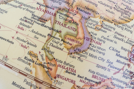 myanmar: southeast asia map on desktop globe