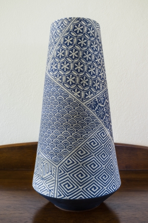 traditional handcraft chinese vase made of ceramic with pattern paint on it photo