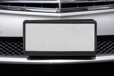 front bumper: empty license plate of luxury car Stock Photo