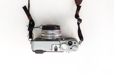 finder: top view of classic range finder style camera isolated in white background Stock Photo