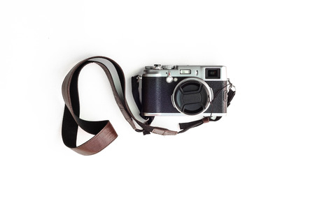 viewfinder vintage: classic range finder camera isolated in white background