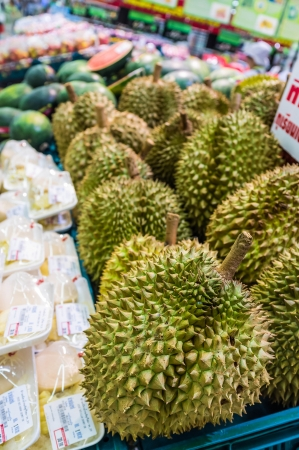 fresh durian sell in supermarket
