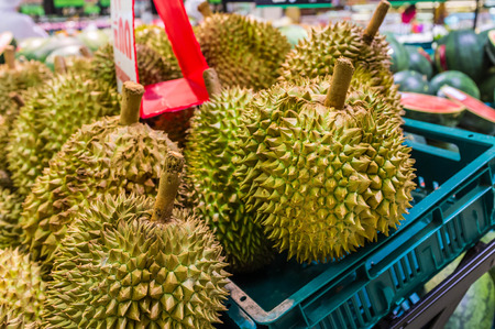fresh durian sell in supermarket photo
