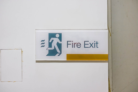 fire exit sign: fire exit sign in commercial building