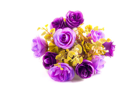 cut flowers: artificial purple bouquet of rose isolated in white background with clipping path Stock Photo
