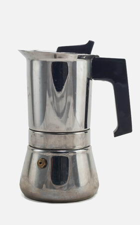 italian style coffee pot moka isolated in white background with clipping path photo