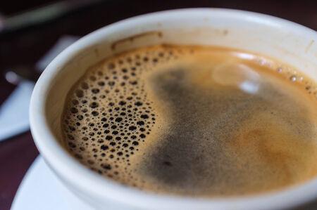 crema: crema in fresh americano coffee