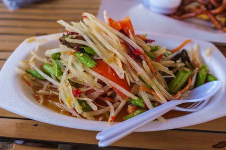 thai style: thai style spicy somtam in local restaurant
