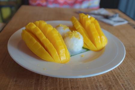 thai style: thai style fresh mango with sticky rice