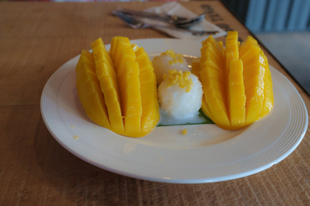 thai style: sticky rice with mango in thai style Stock Photo