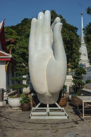 buddha hand: big buddha hand sculpture in Thai temple for educational purpose