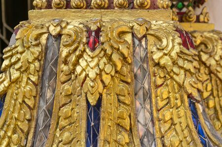 art and craft: closeup Thai art craft in traditional buddhist temple