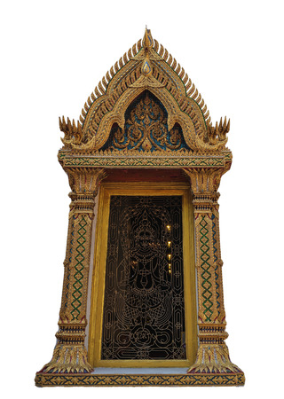 craftmanship: buddhist craftmanship in traditional Thai temple isolated in white background