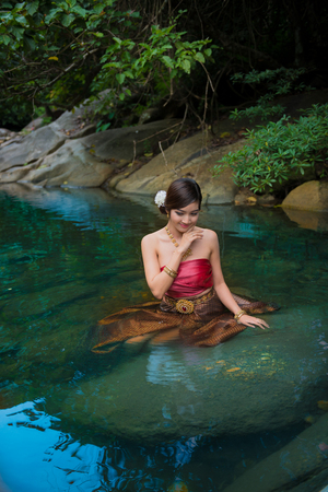 neutral: Naga Queen is legendary literary Thailand. Naga is goddess snake. Stock Photo