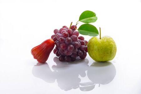 guayaba: Mix Fruit on white acrylic.This is highkey photo. Foto de archivo