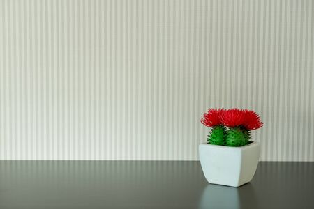 storage box: Beautiful plant in white grass on black table.Home accessories.