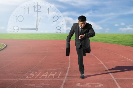 countdown: Business competition concept on track. Motivation and Success with start up business.