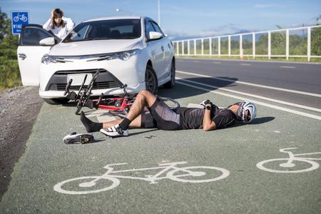 Accident car crash bicycle on bike lane.injurious,damage