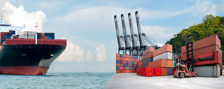 Logistics and transportation of Containers box to truck for Logistic Import Export Background, Business logistic concept, import and export concept