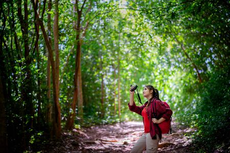 Asian female hipster hiking in forest , wild , adventure. Travel concept