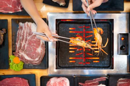 Korean BBQ, Shabu Shabu, Pork, Beef, Shrimp, Seafood and Vegetables