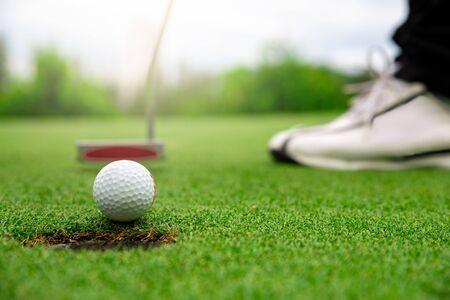 Close up golf ball on green grass field. sport golf club 版權商用圖片 - 148628369