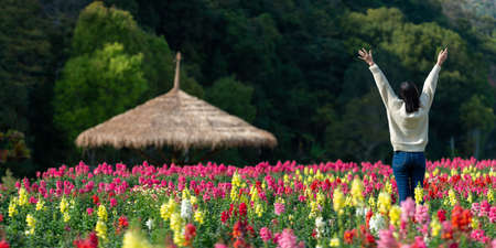 Beautiful asian woman relax in flower field.beautiful in nature Banque d'images