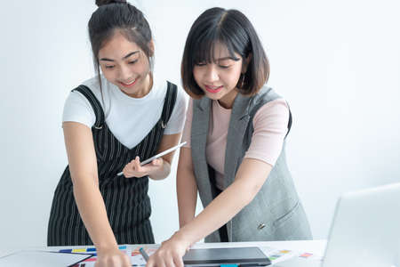 Team Fashion designer stylish showroom concept, they are designing the color of the clothes