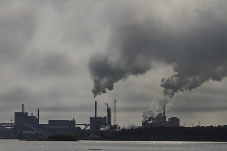 pollutants: Landscape with factory chimneys, smoke, air pollutants