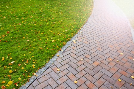 Autumn path with fallen leaves, walk gloomy day, paving slabs, green lawn with sunny hotspot Stock Photo