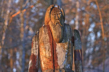 Odin is made of wood,sagas, mythology, monuments, idols, Odin, Scandinavia creation the supreme god Stock Photo