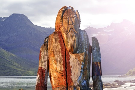 Odin isolated on the shore of fjord,sagas, mythology, monuments, idols, Odin, Scandinavia, creation the supreme god