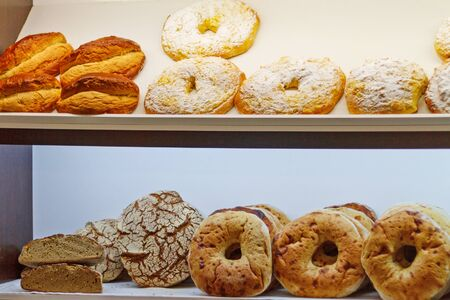 Showcase of pastry,bakery, cafe baking snacks sweets Stok Fotoğraf