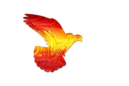 Spanish color of the flag on the silhouette of the dove ,creativity, symbols and signs