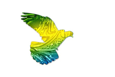 Brazilian flag colors on silhouette of a dove ,creativity, symbols and signs