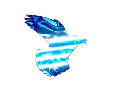 windward: Greek flag colors on the silhouette of the dove ,creativity, symbols and signs