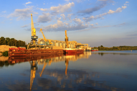 shipper: Port for the transportation of grain along the rivers , ships Stock Photo