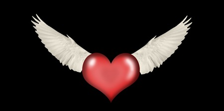 heart with wings on a black background, Valentine's Day